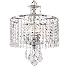hanging crystals home decorators collection 3 light polished chrome mini chandelier