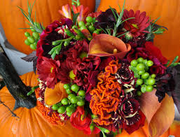 purple and orange wedding ideas purple flower dresses and pumpkin basket google search