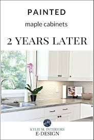 how to clean factory painted kitchen cabinets our painted maple cabinets 2 years later m interiors