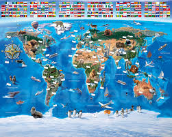 World Map With Flags Children U0027s World Map Flags