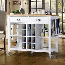 rolling kitchen cart bar serving table wine rack white wood