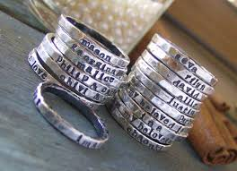 ring with name engraved personalized stacking rings it would be to one for each