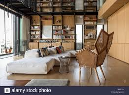 spacious double height living area with views of beirut the stock