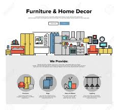 Home Design Template One Page Web Design Template With Thin Line Icons Of Home Interior