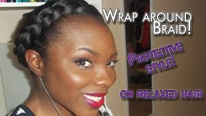 hair braid across back of head protective style wrap around braid youtube