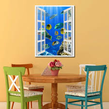 tropical island fish picture 3d window wall art home decor gift