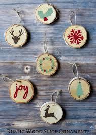 wood slice ornaments holidays rustic wood