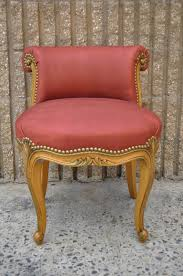 Distress Leather Chair French Hand Carved Rolled Back Leather Vanity Chair In The Louis