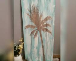 palm tree wood block air plant stand wood and copper
