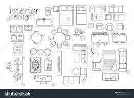 architecture floor plan symbols interior design floor plan symbols top stock vector 1047027184