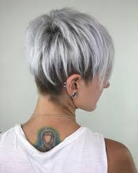 funky hairstyle for silver hair silver pixie cut with layered lowlights pinteres