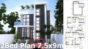sketchup home plan 7 5x9m with 4 bedroom home design idea