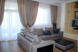 buy curtains in house for living room with brown edging on