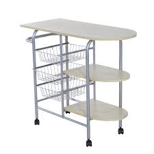 homcom portable kitchen cart rolling trolley multi tier storage