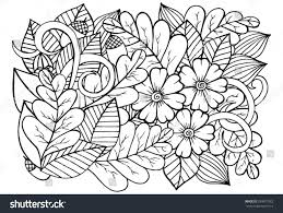 vector doodle autumn flowers leaf pattern stock vector 339877922