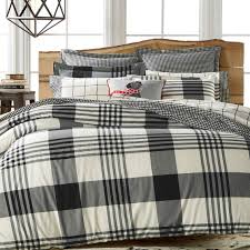 martha stewart collection montana plaid onyx flannel duvet bed