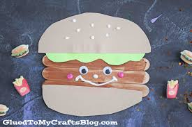 popsicle stick hamburger friends kid craft glued to my crafts