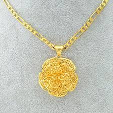 gold flower necklace designs images Buy us design gold flower charm pendant necklace link chians 18k jpeg