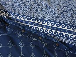 Electric Blue Duvet Cover Coastal Duvet Cover Asian Indigo Saffron Marigold