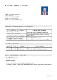 Best Resume Format Chartered Accountant by Cv Acc