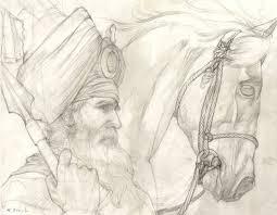 akali nihung original pencil drawing by kanwar singh dhillon