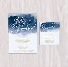 Wedding Invitation Insert Cards Navy Watercolor Gold Text Single Sided Wedding Announcement With