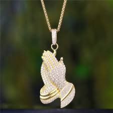 praying necklace 18k gold plated shining praying necklace hip hop jewelry