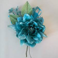 teal corsage velvet and satin dahlia millinery corsage teal blue artificial