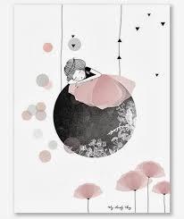 illustration chambre bébé affiche lune coquelicot fille chambre bebe enfant lilipinso