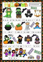 english worksheet halloween vocabulary missing vowels