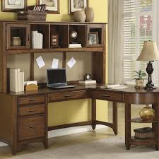 L Shaped Home Office Desk Furniture Brown Wooden Computer Desk With Book Shelf And Drawer