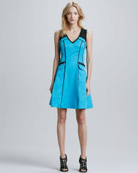 nanette lepore andes piped aline scuba dress in blue lyst