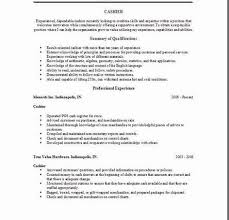 Resume For Cashier Job Example by Cashier Resume Professional Experience Cashier Duties For Resume