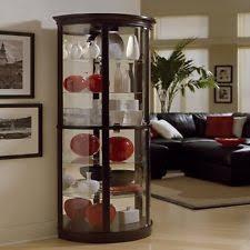 Corner Glass Display Cabinet Ebay Display Cabinet Glass Shelves Shelf White Oak Wood Modern Curio
