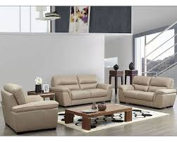 Modern Loveseat Sofa Modern Leather Sofa Set In Beige Color Esf8052set