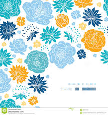 blue and yellow flower silhouettes corner decor royalty free stock
