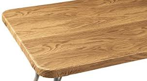 vinyl elasticized table cover amazon com wood grain vinyl elasticized banquet table cover home