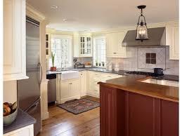 Small Kitchen Appliances Garage With Tiled Backsplash by White Cabinets Cabinet Kitchen Remodel Craftsman Nutmeg Stain