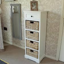 cream wicker storage unit one drawer four baskets melody maison