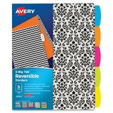 avery big tab reversible fashion dividers mac papers inc