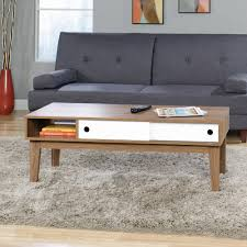 Accent Living Room Tables Sauder Soft Modern Coffee Table Walnut Finish With White Accent