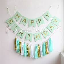 mint green streamers mint green happy birthday banner with hanging tassel garland and