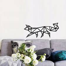 geometric home decor baby wall decals geometric fox wall sticker for home decor black