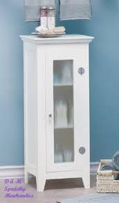 Narrow Bathroom Floor Cabinet by 35012 Narrow White Cabinet With Glass Doors Sharion U0027s Treasures