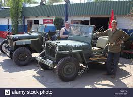 jeep army star wwii us army willys jeep and soviet gaz jeep restored stock photo