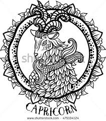 detailed capricorn aztec filigree line art stock vector 475104124