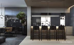 modern grey kitchens architecture kitchen family residence by the ukrainian firm
