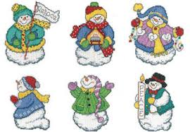 imaginating joyous snowmen ornaments cross stitch pattern