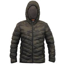 mens bubble jacket threadbare coat hooded camo military quilted