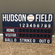 Baseball Decorations For Bedroom by Custom Wooden Scoreboard Artwork Great For Nurseries Wedding